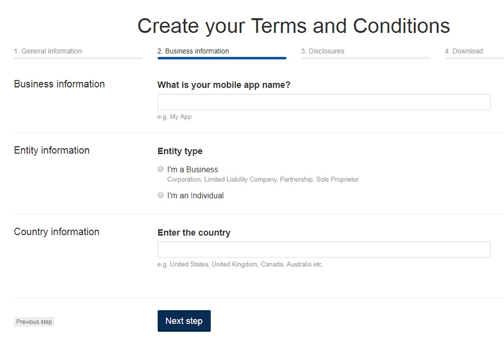 TermsFeed Terms and Conditions Generator: Answer questions about Mobile App - Step 2