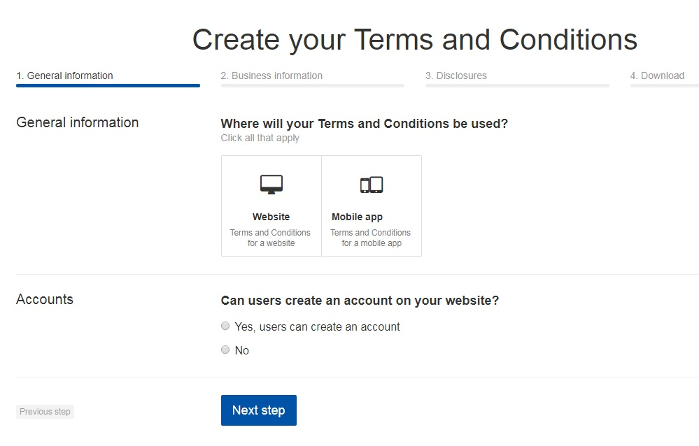 TermsFeed Terms and Conditions Generator: Create Terms and Conditions for Mobile App - Step 1