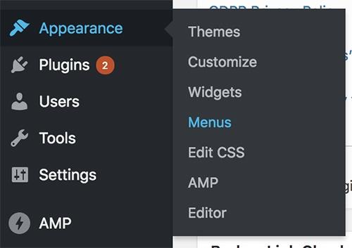 WordPress dashboard Appearance menu