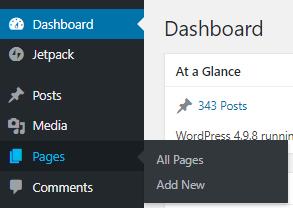 Screenshot of WordPress Dashboard Pages menu