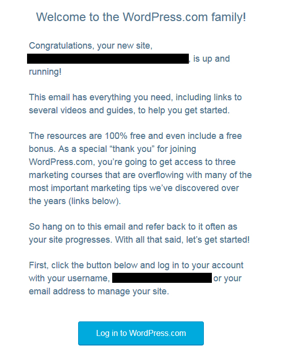 Screenshot of welcome email from WordPress EU