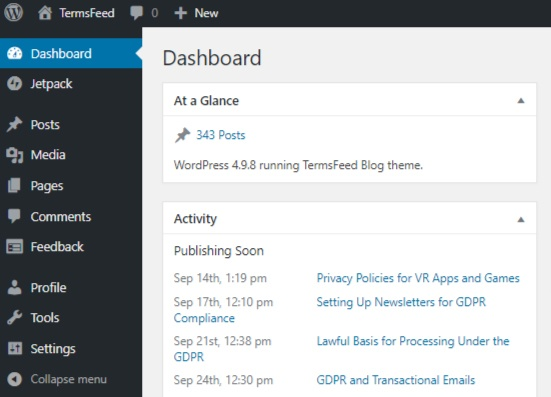 Screenshot of WordPress main Dashboard