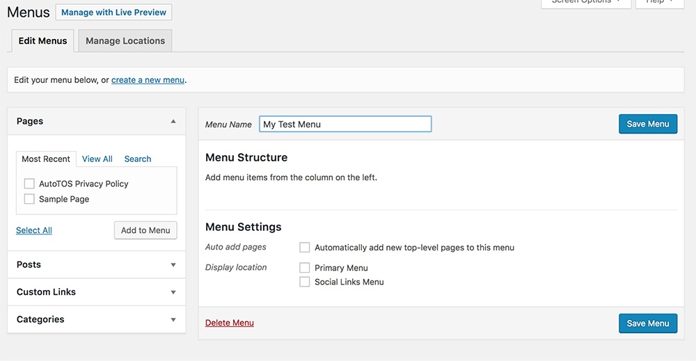 Screenshot of WordPress Menus page