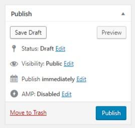 Screenshot of Publish section in WordPress