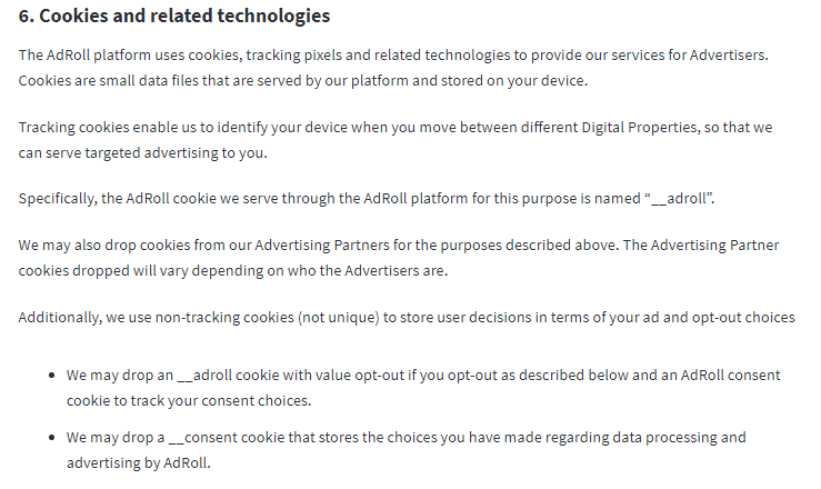 AdRoll Service Privacy Notice: Cookies clause