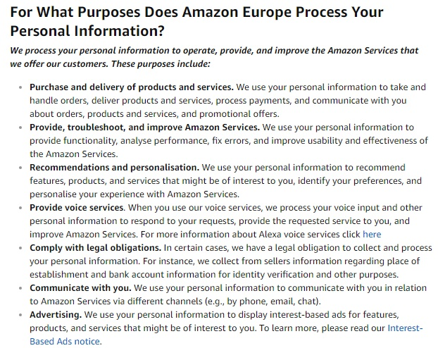 Amazon UK Privacy Notice: Excerpt of clause about what purposes personal information is processed