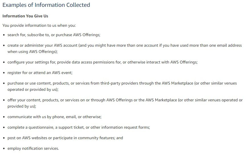 Amazon Web Services Privacy Policy: Excerpt of Examples of Information Collected list