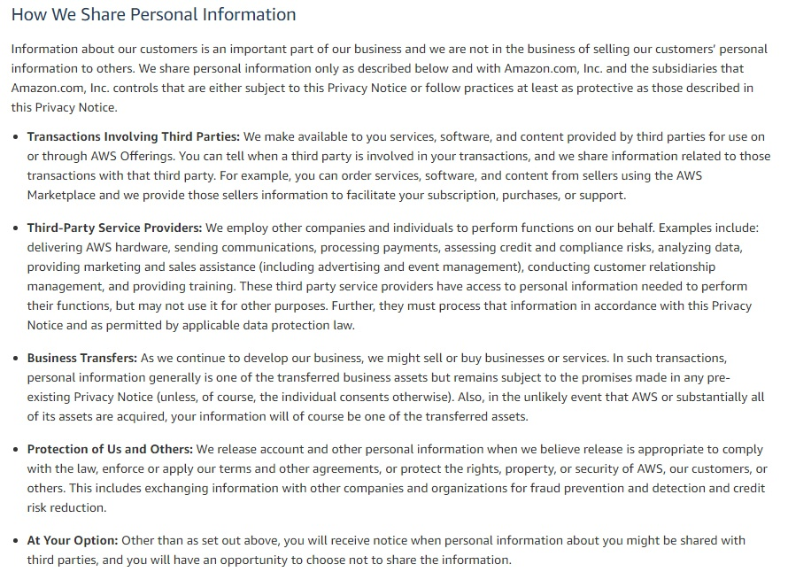 Amazon Web Services Privacy Policy: How We Share Personal Information clause