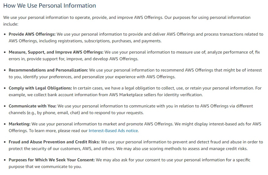 Amazon Web Services Privacy Policy: How We Use Personal Information clause