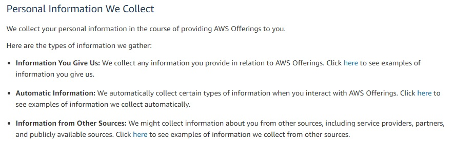 Amazon Web Services Privacy Policy: Personal Information We Collect clause