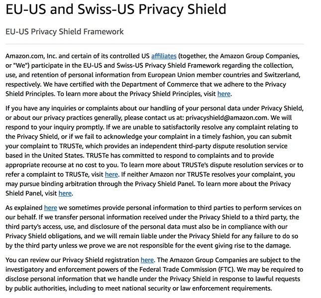 Amazon Web Services Privacy Policy: Privacy Shield clause