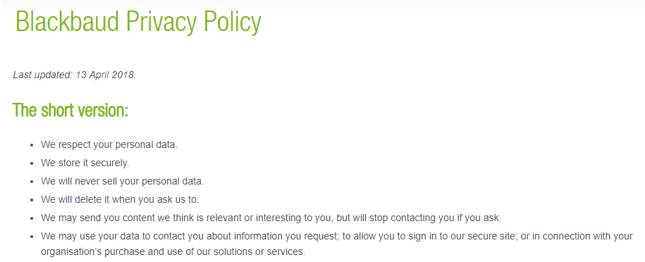 Blackbaud Privacy Policy: Short Version/Intro section