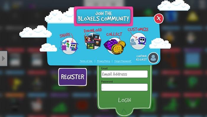 Bloxels Builder account registration screen