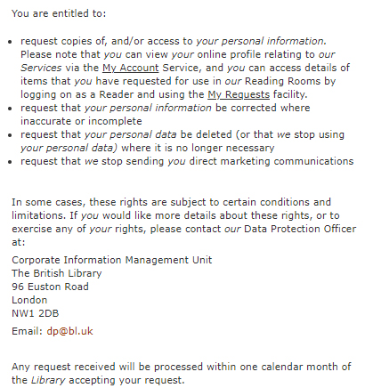 British Library Privacy Policy: Your Rights - GDPR clause