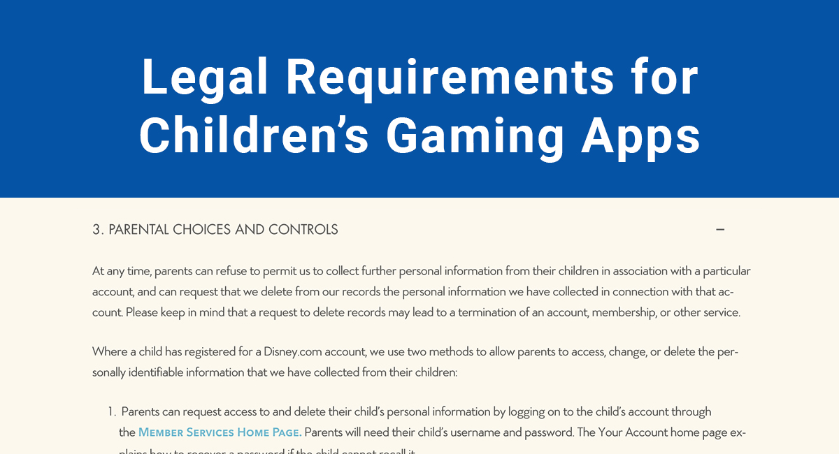 Image for: Legal Requirements for Children's Gaming Apps