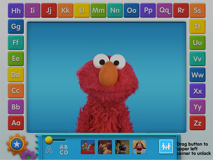 Elmo ABCs game app: Screenshot of parental consent unlock feature