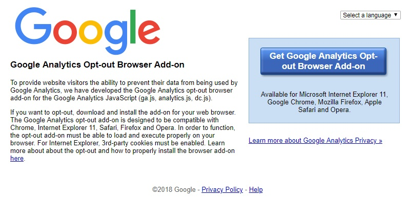 Screenshot of Google Analytics Opt-out Browser Add-on tool page