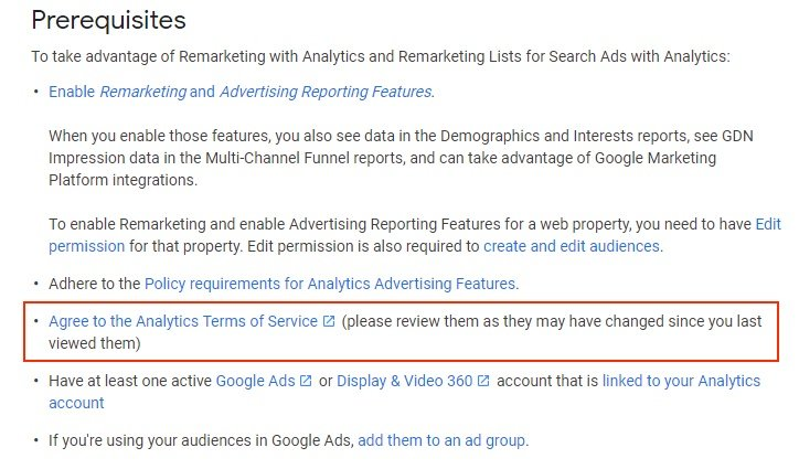 Google Analytics Prerequisites to remarketing with requirement to agree to Analytics Terms of Service highlighted