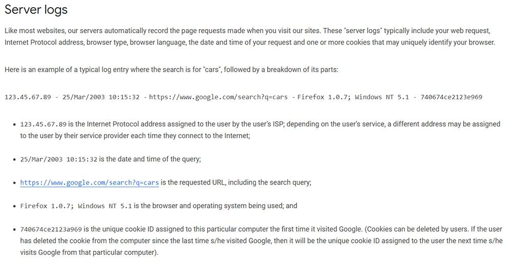 Google Chrome Privacy Notice: Server logs clause