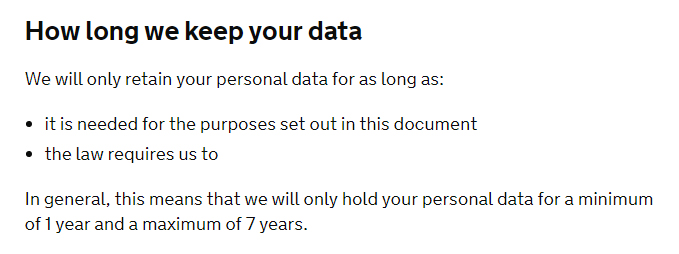 Gov UK Privacy Notice: Data retention clause