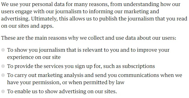 The Guardian Privacy Policy: Excerpt of intro