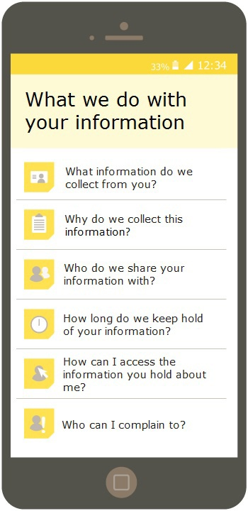 ICO: How should we provide privacy information to individuals - Example of icons