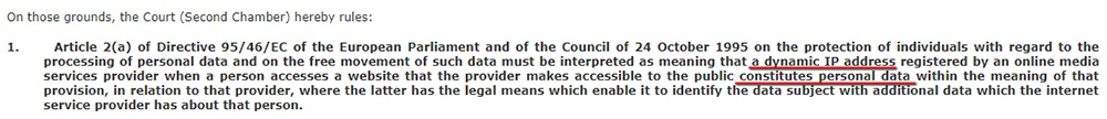 InfoCuria: Screenshot of excerpt from Brewer v Germany court judgment - IP addresses are personal data