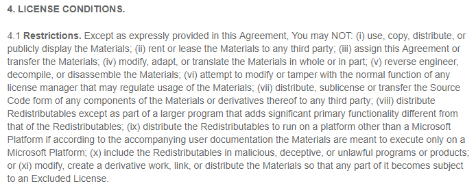 Intel EULA for Software Development Products: License Conditions - Restrictions clause
