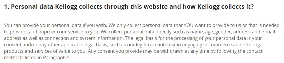 Kellogg UK Privacy Policy: Personal data Kellogg collects and how clause excerpt with legal basis information