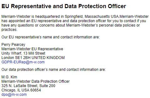 Merriam-Webster Privacy Policy: EU Representative and Data Protection Officer contact details clause