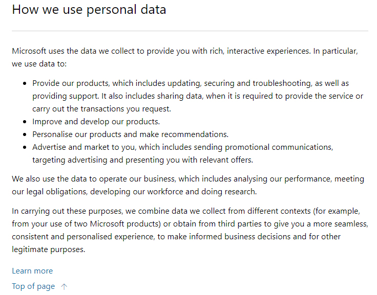 Microsoft Privacy Statement: How we use personal data clause