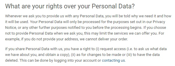 Nestle Privacy Policy: What are your rights over your Personal Data clause