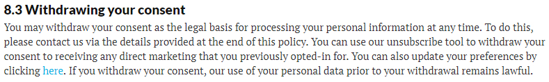 New Scientist Privacy Policy: Withdrawing your consent clause