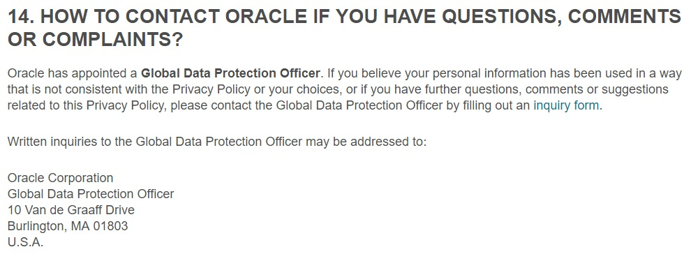 Oracle Privacy Policy: Contact information for Global Data Protection Officer clause