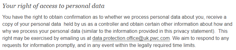 PwC Privacy Statement: Your right of access to personal data clause