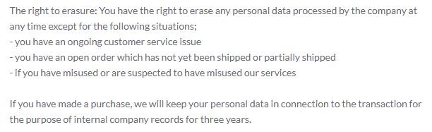 Silverado Privacy Policy: GDPR Right to Erasure clause