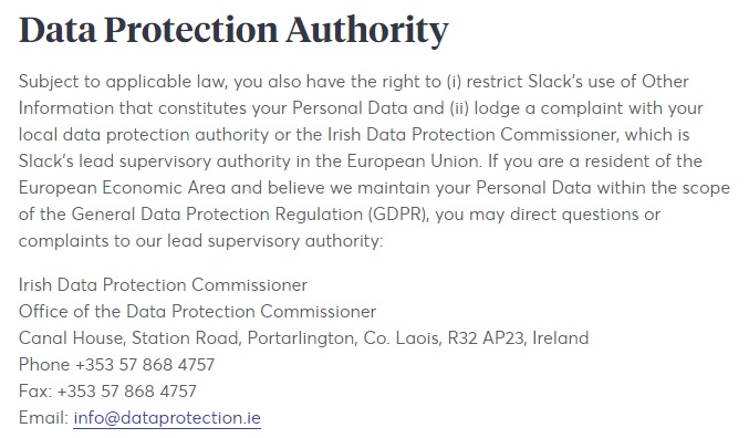Slack Privacy Policy: Data Protection Authority clause