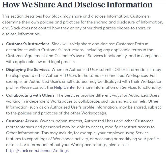 Slack Privacy Policy: How We Share and Disclose Information clause