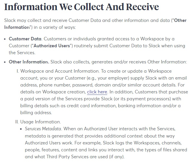 Slack Privacy Policy: Excerpt of Information We Collect and Receive clause