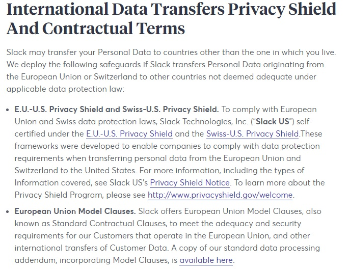 Slack Privacy Policy: International Data Transfers clause