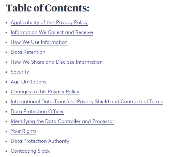 Slack Privacy Policy: Screenshot of table of contents