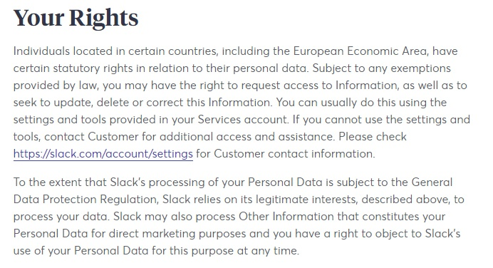 Slack Privacy Policy: Your Rights - GDPR clause