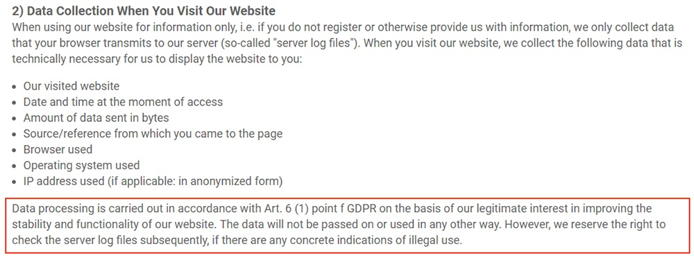 SmartSVN Privacy Policy: Data Collection clause with GDPR data processing legitimate interest highlighted