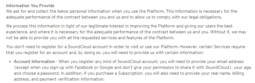 SoundCloud Privacy Policy: Excerpt of Information You Provide clause