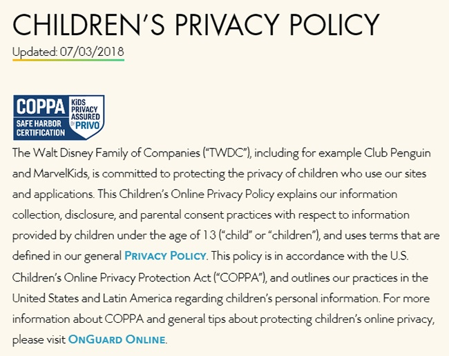 Walt Disney Children's Privacy Policy intro clause