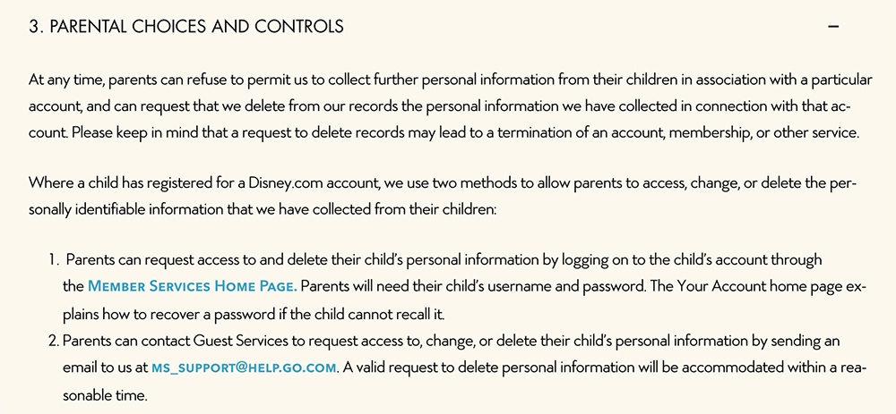 Walt Disney Children's Privacy Policy: Parental Choices and Controls clause