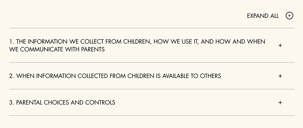 Walt Disney Children's Privacy Policy: sections menu