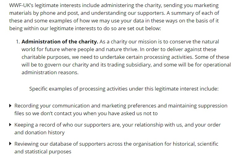 WWF UK Privacy Policy: Legal Basis for Processing Data - Legitimate Interests clause excerpt