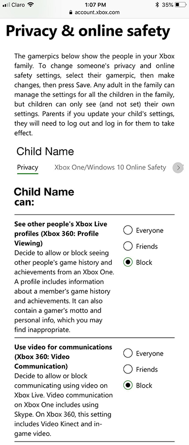 Screenshot of Xbox mobile Child Privacy and Online Safety settings screen