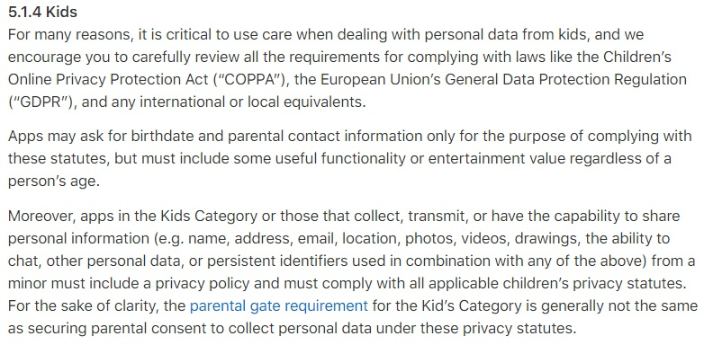 Apple App Store Review Guidelines: Kids clause for COPPA
